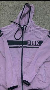 Victoria's Secret Pink and Black Zip Up Hoodie